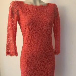 Coral Dianne Von Furstenberg Lace Dress -EUC- 10